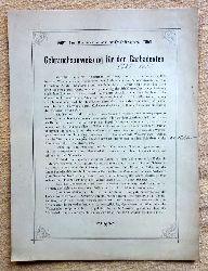 """Merkblatt """"Gebrauchsanweisung für den Gasbadeofen Nr. 5327 u. 1337"""" (gedruckte Anmerkung: """"Im Badezimmer aufhängen"""")"""