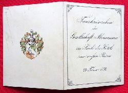 Tanz-Ordnung des Tanzkränzchen der Gesellschaft Alemannia im Saale des Hotels zum weißen Bären am 24. Februar 1894 (Klappkarte mit 14 Tänzen)