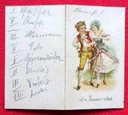Tanz-Karte vom 3. Januar 1895 (innen 12 Tänze mit hs. Eintragungen der Tanzpartner)