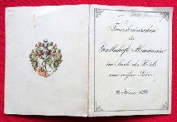 Tanz-Ordnung des Tanzkränzchen der Gesellschaft Alemannia im Saale des Hotels zum weißen Bären am 24. Februar 1894 (Klappkarte mit 14 Tänzen u. hs. Eintragungen der Tanzpartner)