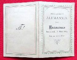 Tanz-Ordnung Kränzchen der Gesellschaft Alemannia Sonnabend 12. März 1892. Hotel zum weissen Bären (Klappkarte mit 14 Tänzen u. hs. Eintragungen der Tanzpartner)
