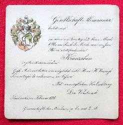 """Einladung der """"Gesellschaft Alemannia beehrt sich zu ihrem am Samstag d. 2. März.... im Saale des Hotels zum weissen Bären stattfindenden Kränzche ergebenst einzuladen..."""""""
