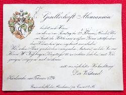 """Einladung der """"Gesellschaft Alemannia beehrt sich zu ihrem am Samstag d. 24. Februar.... im Saale des Hotels zum weissen Bären stattfindenden Kränzche ergebenst einzuladen..."""""""