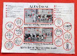 ALFA-LAVAL  Werbeblatt / Merkblatt Alfa-Laval Melkanlage mit Rundlauf-Vakuumpumpe Nr. 9 und Nr. 20