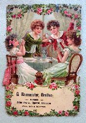 Lithographierte Werbetafel im Farbendruck (Prägedruck) der Firma G. Baumeister, Bretten. Marktplatz (Colonialwaren, Cigarren, Sämereien, Garne, Woll- und Spielwaren)