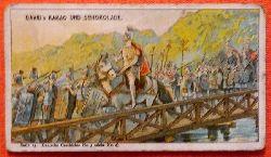 Reklamebild /  Kaufmannsbild / Sammelbild Fr. David Söhne, Halle (Serie 15 Bild No. 3 Deutsche Geschichte in Bildern (55. v.Chr. Cäsar`s Uebergang über den Rhein)