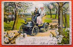 Ansichtskarte AK Fröhliche Pfingsten (Pärchen im Oldtimer)