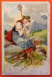 Ansichtskarte AK Fröhliche Pfingsten (Junge Frau in Tracht. Alpen)