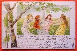 Ansichtskarte AK Fröhliche Pfingsten (4 Mädchen im Tanzreigen)