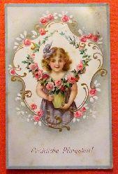 Ansichtskarte AK Fröhliche Pfingsten (Mädchen mit Rosen. Jugendstil)