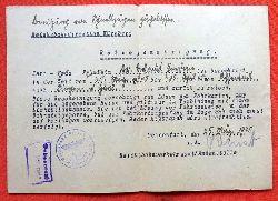 Reichsbahndirektion Nürnberg  Reisegenehmigung für Dr. Helmut Jordan von Ochsenfurt nach Jordan v. 25. März 1945 (für Dr. Helmut Jordan Leiter der Finanzämter Metz und Diedenhofen)