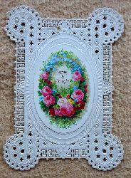 Karte mit ovalem farbig lithographiertem Bildchen (Blumen) (Spruch: Happy may thy Birthday be)