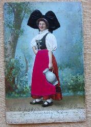 Ansichtskarte AK Elsässer Tracht / Costume Alsacien Stoff-AK
