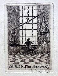 Beier, Otto Hans (Ottohans)  Orig.Radierung Exlibris von Ottohans Beier für H. Friedrichsmeier (Mann am Schreibtisch v. hinten mit Waage im Vordergrund)