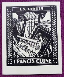 Feint, Adrian  Orig.Holzschnitt Exlibris von AF (= Adrian Feint) für Francis Clune (Bücher, Leier, Noten)