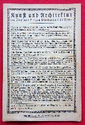 """Eugen Diederichs Verlag  Werbung für ca. 50 Bücher """"Kunst und Architektur"""" des Eugen Diederichs Verlag (u.a. Bruno Taut, Walther Klemm, Max Osborn..) (Werbeprospekt des Verlages)"""