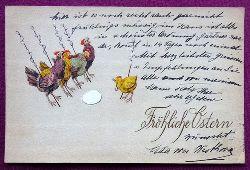 Ansichtskarte AK Fröhliche Ostern (4 singende Hühner und Küken)