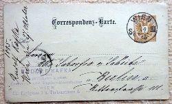 """Ansichtskarte AK Ganzsache """"Rudolf Kafka vormals Bergmann & Comp. Couvert- und Papier-Manufactur Wien IX, Hörlgasse 5 u. Türkenstrasse 4 (Correspondenz-Karte)"""