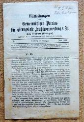 Baumann, J.  Mitteilungen des Gemeinnützigen Vereins für gärungslose Früchteverwertung e.V. (Sitz Freiburg) Nr. 1 Juni 1915