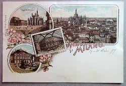 Ansichtskarte AK Ricordo di Milano (Mailand). Farblitho. Piazza del Duomo, Panorama, Galleria Vittorio Emanuele, Piazza della Scala