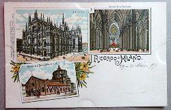 Ansichtskarte AK Ricordo di Milano (Mailand). Farblitho. La Cattedrale, Interno della Cattedrale, Chiesa di S. Maria della Grazie