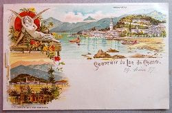 Ansichtskarte AK Souvenir du Lac de Como. Farblitho. 3 Ansichten. Bellagio, Vue Deouis La Villa Carlotta, Amor et Psyche