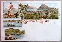 Ansichtskarte AK Ricordo di Lugano. Farblitho. 4 Ansichten. Mont Bre, Tracht, Lugano Quai, Panorama