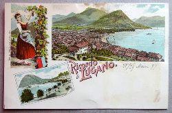 Ansichtskarte AK Ricordo di Lugano. Farblitho. 3 Ansichten. Panorama, Tracht, Lugano