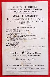 WRI  Flugblatt: Society of Friends (Warwickshire Monthly Meeting) Peace Committee invite you to meet members of the WAR RESISTER`S INTERNATIONAL COUNCIL to discuss with them urgent World Problems and Pacifist Action: Guests: Donald Groom, David Mcreynolds, Pie (Meet in The Foyer, Dr. Johnson House Colmore Circus Birmingham)