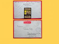 """Der Vortrupp  Feldpostbrief von Klausdorf Kr. Teltow nach Karlsruhe v. 11.7.1918 mit Feldpostmarke in Rot und umseitig Werbemarke der ZS """"Der Vortrupp"""" Hamburg"""
