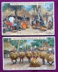 2 St. Reklamebild / Kaufmannsbild / Sammelbild Theodor Hildebrand Kakao, Schokolade, Pralines etc. (Tuk Tuk-Tänzer. Bismarck-Archipel / Palmweinmarkt in Togo)