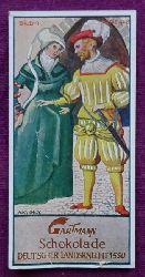 Reklamebild / Kaufmannsbild / Sammelbild Gartmann Chocolade (Serie 448 Bild 4 Deutscher Landsknecht 1550)