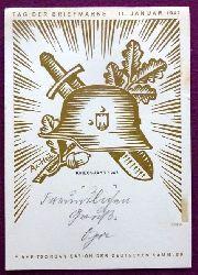 """Sonderkarte """"Tag der Briefmarke 11. Januar 1942. Einheitsorganisation der deutschen Sammler (mit Stempel Strassburg 1943, Vorne Aufdruck Kriegsjahr 1943,, Motiv v. Ax-Heu mit Briefmarke Deutsches Reich 6 + 24 Tag der Briefmarke 1943; Motiv Postkutsche von Erich Meerwald)"""