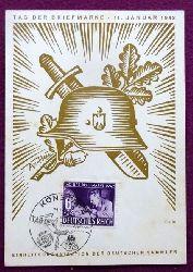 """Sonderkarte """"Tag der Briefmarke 11. Januar 1942. Einheitsorganisation der deutschen Sammler (mit Stempel Konstanz 1942, Motiv v. Ax-Heu)"""