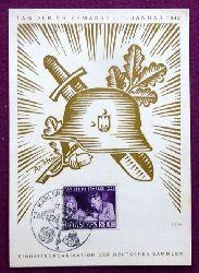 """Sonderkarte """"Tag der Briefmarke 11. Januar 1942. Einheitsorganisation der deutschen Sammler (mit Stempel Karlsruhe 1942, Motiv v. Ax-Heu)"""