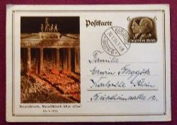 """Ansichtskarte AK Ganzsache """"Deutschland, Deutschland über alles ! 30.1.1933"""" (Ganzsache mit gedruckter Marke 6 Rpf Hindenburg / Hitler)"""