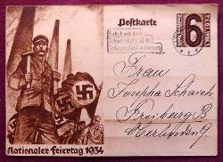 """Ansichtskarte AK Ganzsache """"Nationaler Feiertag 1934"""" (Aufdruckmarke 6 Rpf Deutsches Reich 1. Mai 1934, Stempel """"Fahrt mit der Schwebebahn auf den Schauinsland Freiburg)"""