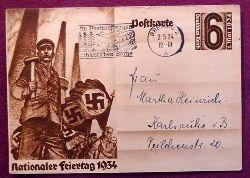 """Ansichtskarte AK Ganzsache """"Nationaler Feiertag 1934"""" (Aufdruckmarke 6 Rpf Deutsches Reich 1. Mai 1934, Stempel """"Im Postkraftwagen durch die Schlesischen Berge + Breslau 2"""")"""