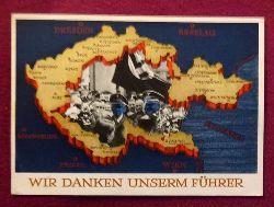 """Ansichtskarte AK Ganzsache """"Wir danken unserm Führer"""" (Aufdruckmarke 6 Rpf Deutsches Reich, Stempel Berlin """"Heimkehr der Legion Condor 6.6.1939"""")"""