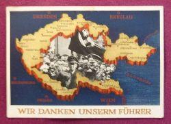 """Ansichtskarte AK Ganzsache """"Wir danken unserm Führer"""" (Aufdruckmarke 6 Rpf Deutsches Reich, Stempel Ulm 1.5.1939)"""