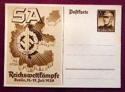 """Ansichtskarte AK Ganzsache """"SA Reichswettkämpfe Berlin 15.-17. Juli 1938"""" (Aufdruckmarke 6 Rpf Deutsches Reich)"""