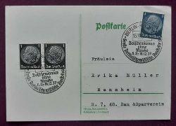 """Postkarte mit 4 Rpf blau + 2er Block 1 Rpf schwarz (2 saubere Stempel """"Berlin-Reichstag, Bolschewismus ohne Maske, Große Antibolschewistische Ausstellung 6.11.1937 - 9.1.1938)"""