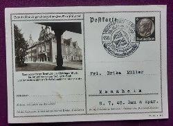 """Bild-Postkarte / Ganzsache mit 6Rpf schwarz (Abb. Arnstadt + sauberer Stempel """"Reichssportfeld Berlin 13.-15. August 1937, Führerappell. Reichswettkampf"""")"""