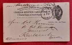 Ganzsache United States of America (Etats-Unis d`Amerique) mit Aufdruck Cuba 2c. de Peso (mit Stempel von Havanna, Cuba 1903, gelaufen nach Karlsruhe)