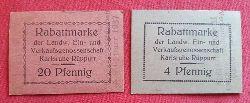 2 Rabattmarken der Landwirtschaftlichen Ein- und Verkaufsgenossenschaft Karlsruhe-Rüppurr 4 + 20 Pfennig gestempelt 1935 + 1937