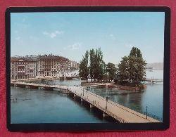 Originalfotografie (Photochromdruck) Geneve, L`Ile Rousseau - Genf, Die Insel Rousseau