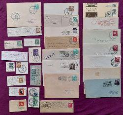 Konvolut 28 Briefe, Briefstücke, Postkarten mit Stempeln von Kunstausstellungen 1925-1967