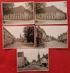 Meyer, Walter (Karlsruhe)  5 s/w Fotografien Kuppenheim Gasthaus zum Kreuz und Ortsstraße (dat. 27.2.1962)