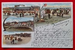 Ansichtskarte AK Gruss aus Norderney (Farblithografie, Promenade, Victoriastrasse, Damenstrand, Herrenstrand)