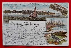 Ansichtskarte AK Gruss aus Norderney (Farblithografie, von der Seeseite; Grosses Logirhaus; Schaluppen, Giftbude)
